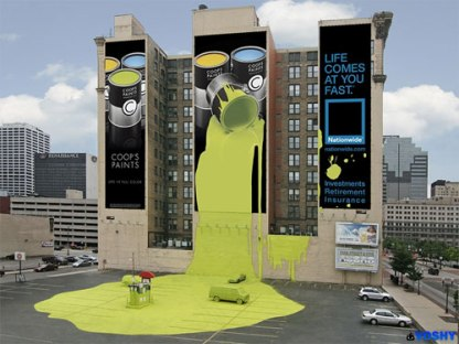 Spectacular Advertisement extending from Wallscape